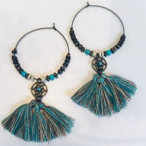 NWOT! Bohemian Style Hoop, Tassel Earrings!